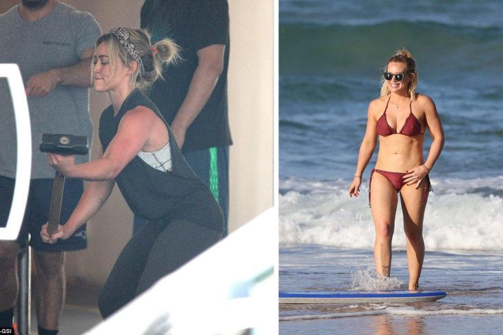 Hillary Duff levantando pesas y en bikini