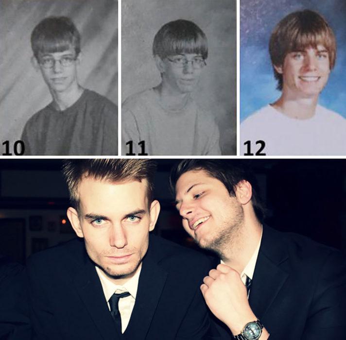 chico se transforma con los años hasta hacerse guapo