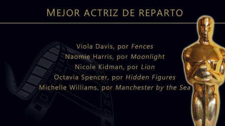Oscares 2017 - lista de peliculas nominadas para mejor actriz de reparto
