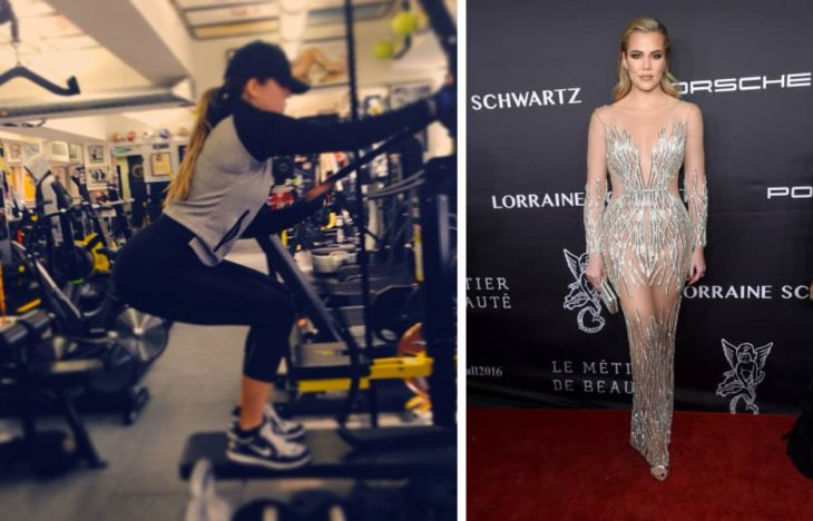 Khloé Kardashian haciendo ejercicio y en evento