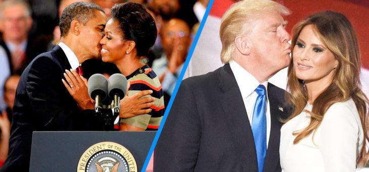 barack y michelle versus trump y melania besándose