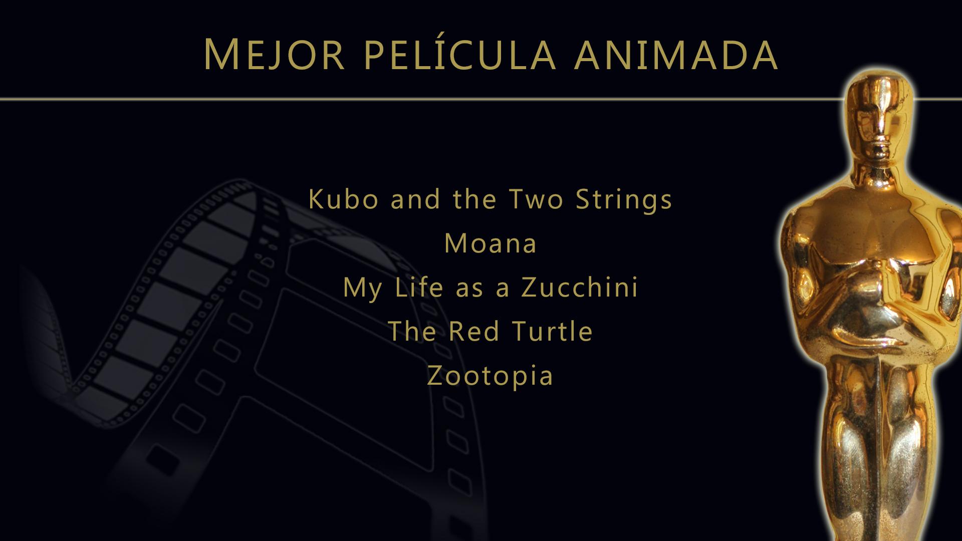 Resultado de imagen de nominados oscars pelicula de animacion 2017