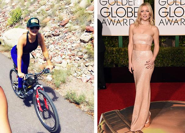 Kate Hudson en bici y en los golden globes