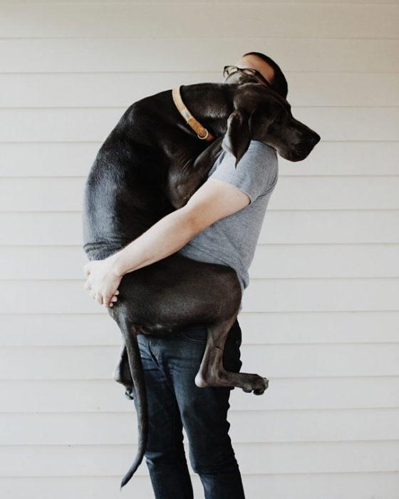 perro chipil abrazando a su dueño