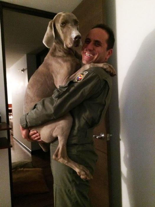 perro abrazando a militar