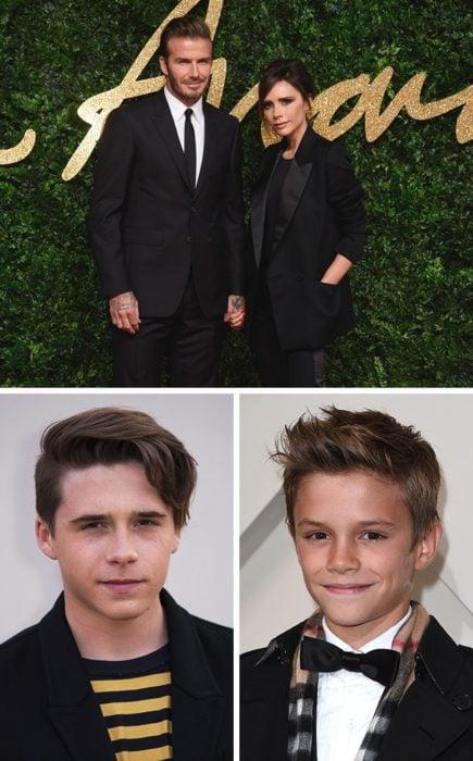 Brooklyn y Romeo Beckham y sus padres