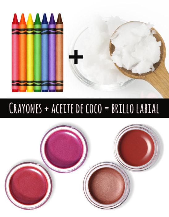 crayones y aceite de coco