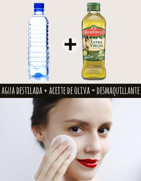 agua y aceite de oliva
