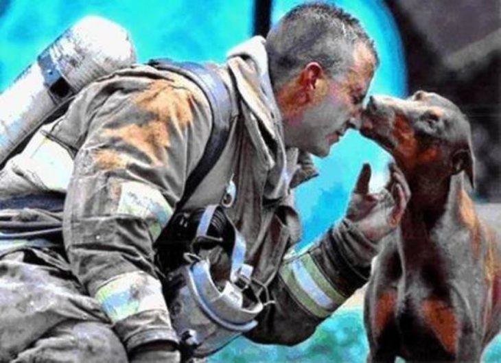 perra besa a bombero