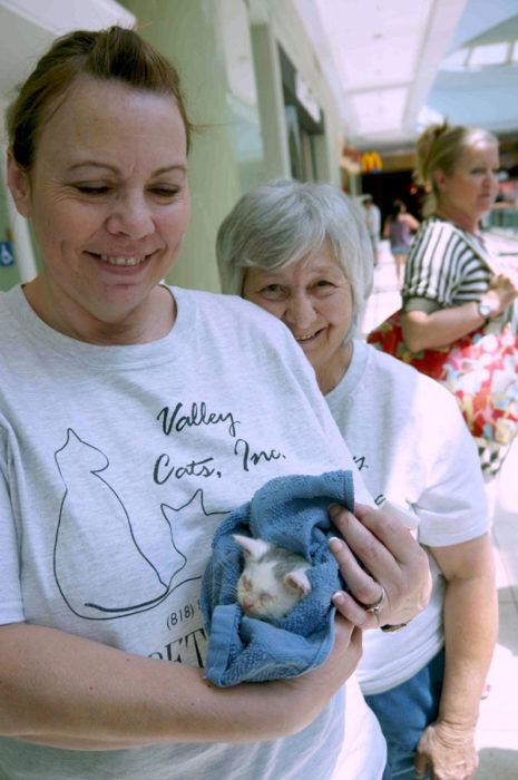 dos personas una sostiene a un gatito en una cobija azul
