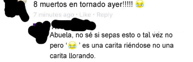 Gente mayor en Facebook - tornado ayer
