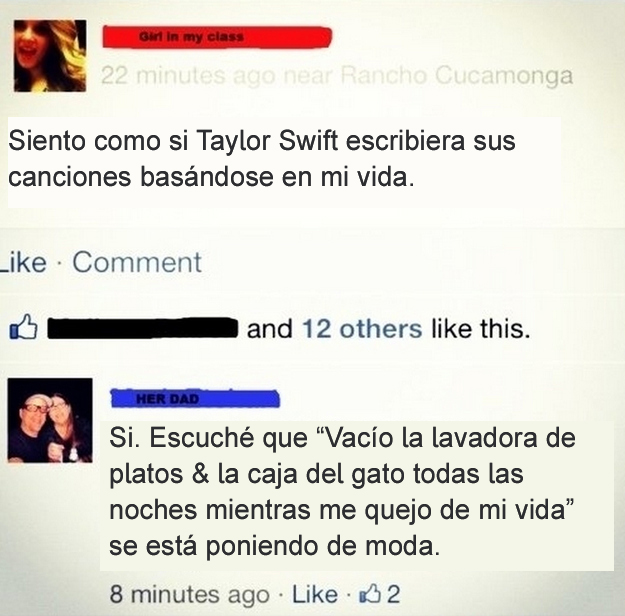 Gente mayor en Facebook - canción taylor swift