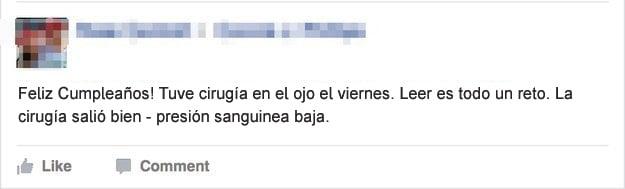 Gente mayor en Facebook - cirugía en el ojo