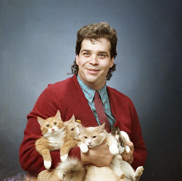 Hombre vintage gato