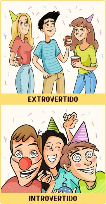 Introvertido vs Extrovertido en fiestas