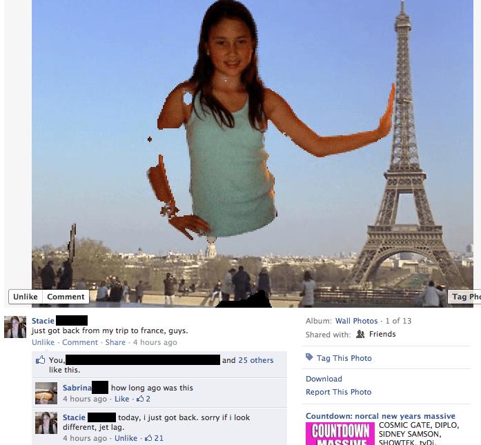 Photoshop - chica fail foto falsa torre eifel