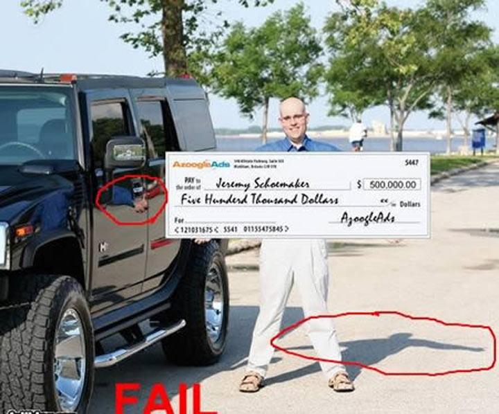 Photoshop - sosteniendo un cheque falso