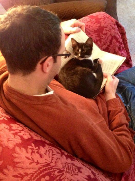 gato no deja leer a su dueño