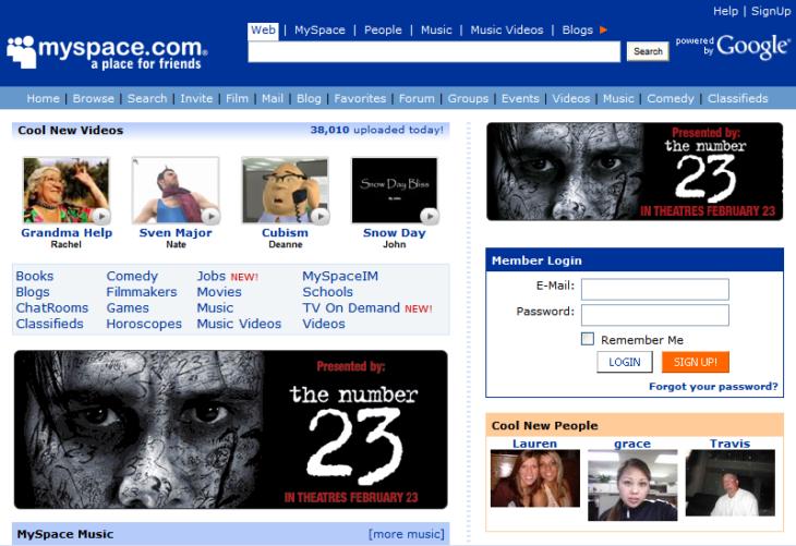 pagina de inicio de myspace