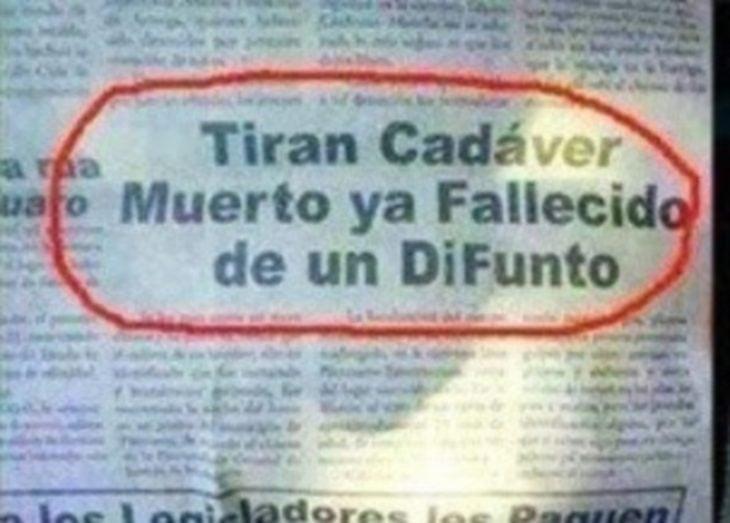 TIRAN CADÁVER MUERTO YA FALLECIDO