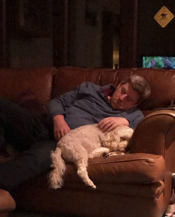 papa dormido en el sillon con el perro al lado