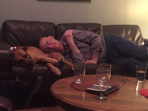 papa dormido arriba del perro