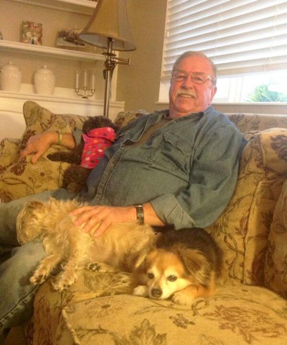 papa con tres perros en el sillón