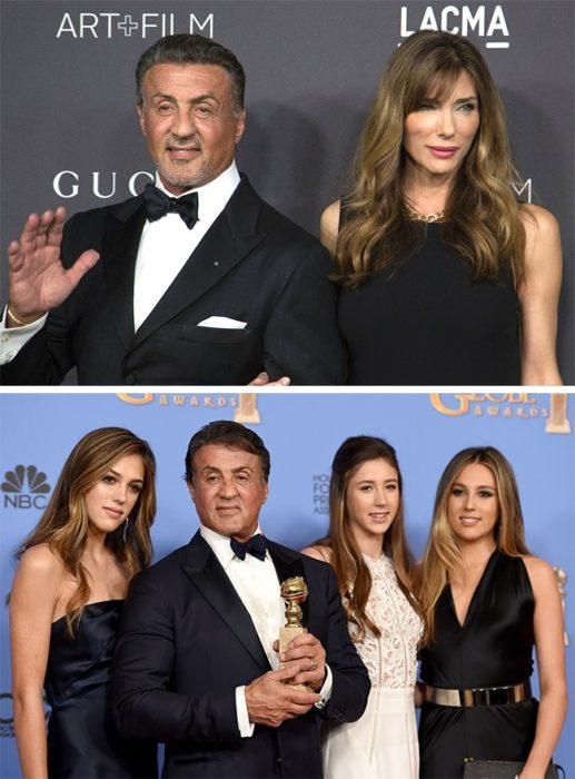 Sophia, Sistine y Scarlet Stallone con sus padres