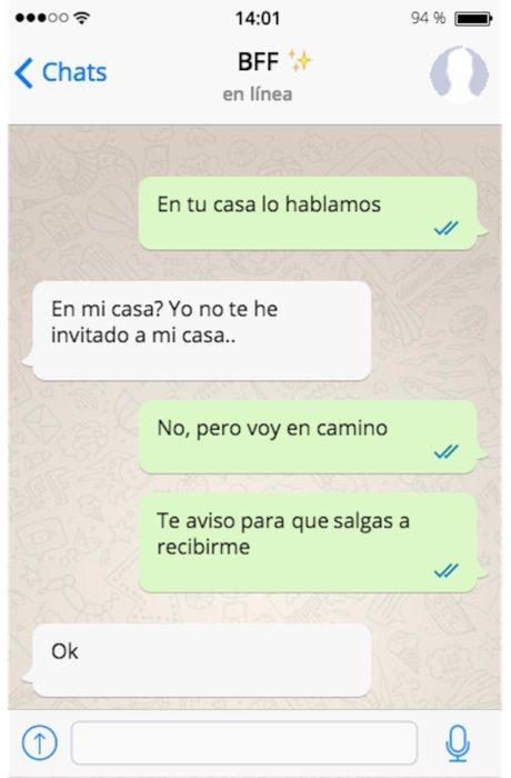 mensaje de whatsapp ir a su casa