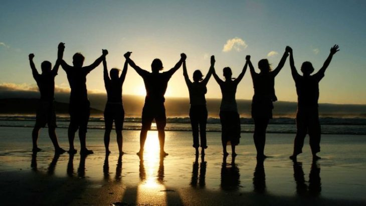 amigos en la playa