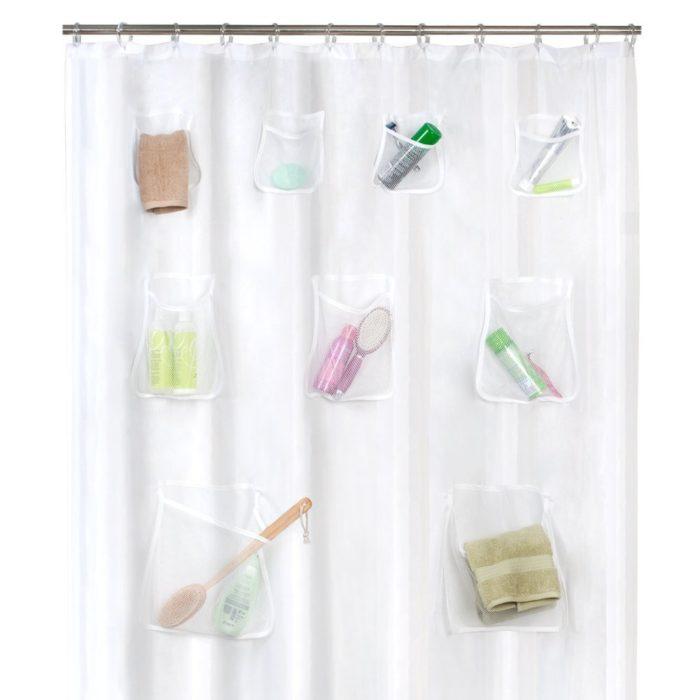 cortina de baño con bolsas