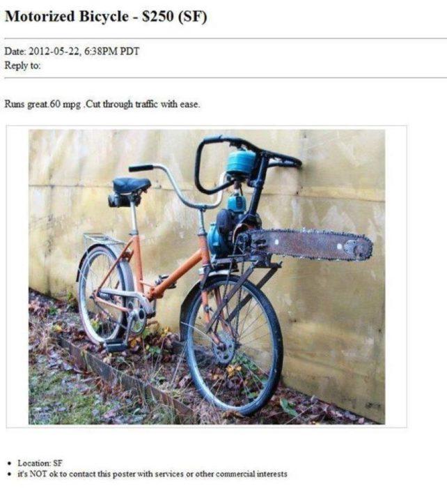 motosierra atada a bicicleta