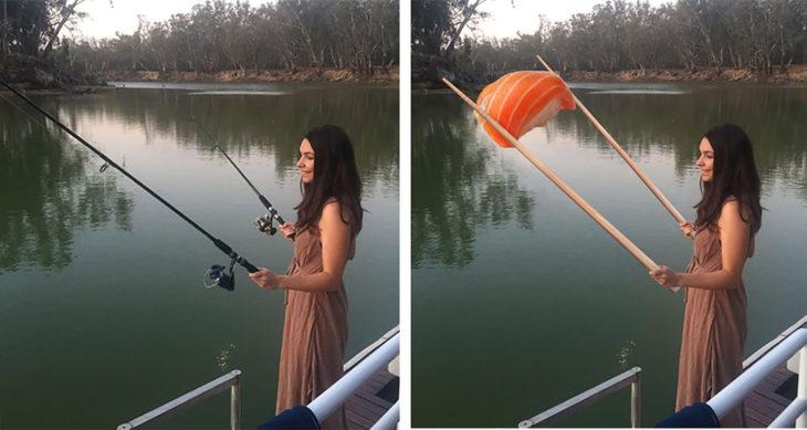 chica editada sosteniendo un enorme sishi con palillos chinos gigantes