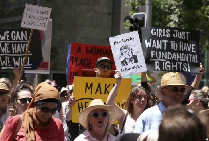 protesta de las mujeres en australia