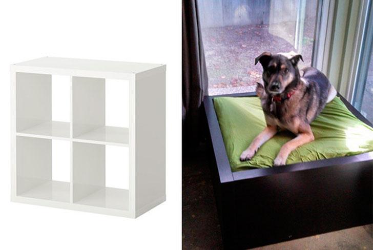 cama para perro hecha con un mueble