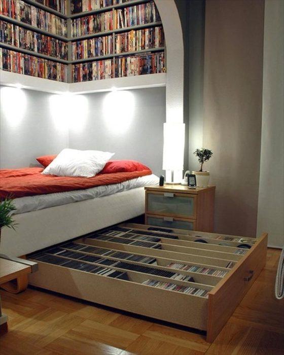 cama con espacio para guardar libros y discos incluido