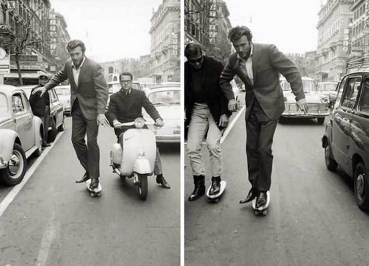clint eastwood paseando en monopatín por las calles de roma