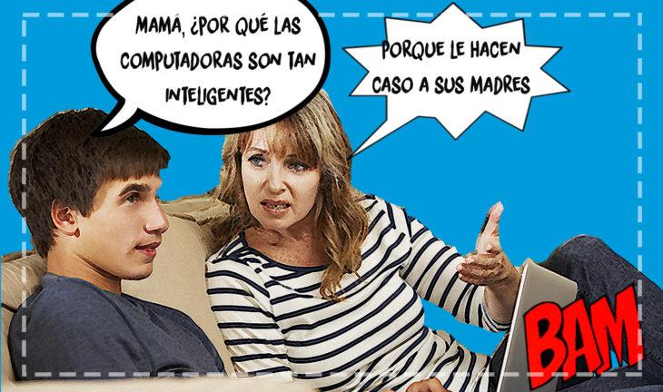 mujer discutiendo con su hijo que tiene una computadora portátil