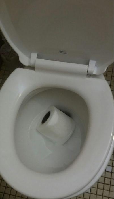 papel tirado en taza de baño