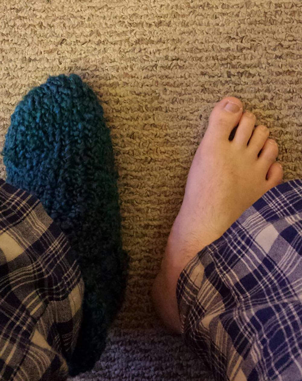 dos pies un solo calcetín