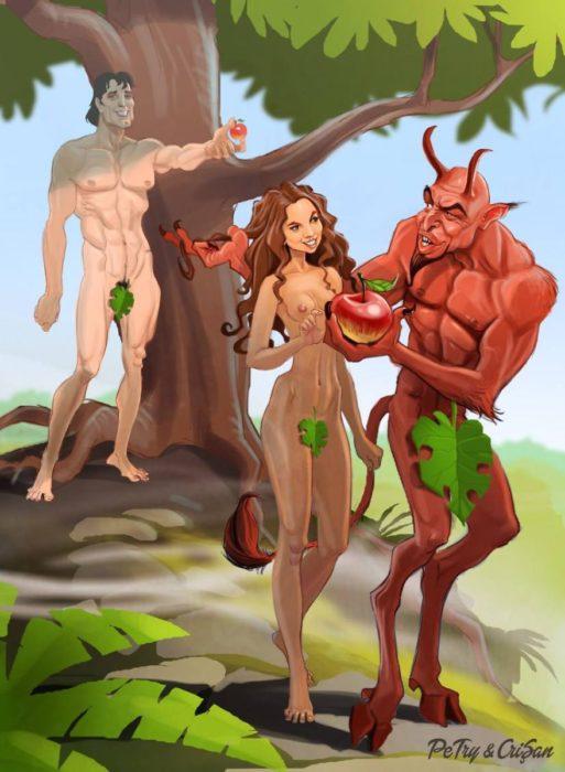 caricatura de crítica al pecado original