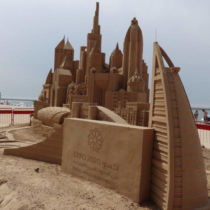 escultura de arena de dubai en dubai