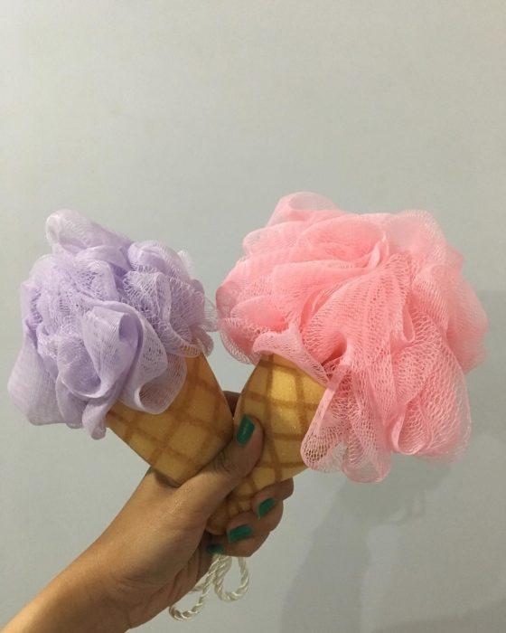 esponjas de baño en forma de helados