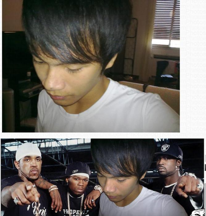 chico editado delante de tres raperos negros