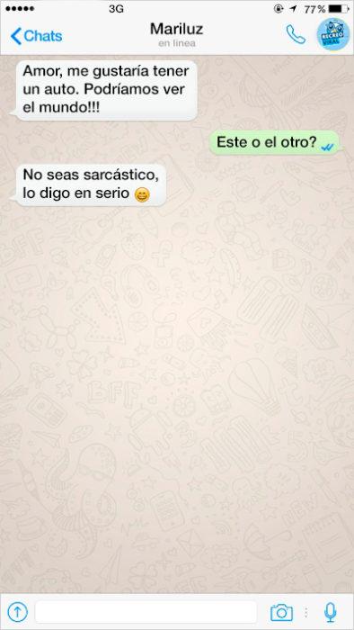 mensaje de texto entre dos seres humanos