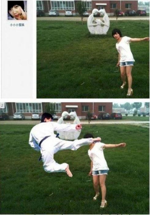 karateca lanzando una patada editado al lado de una mujer en un parque