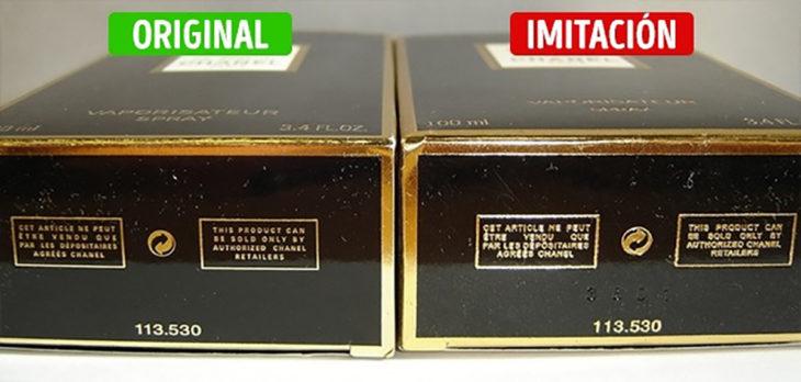 inscripciones en la caja de perfume original y de imitación