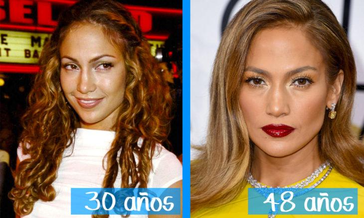 Jennife Lopez en su juventud y ahora