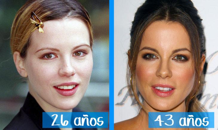 Kate Beckinsale en su juventud y ahora