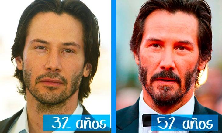 Keanu Reeves en su juventud y ahora